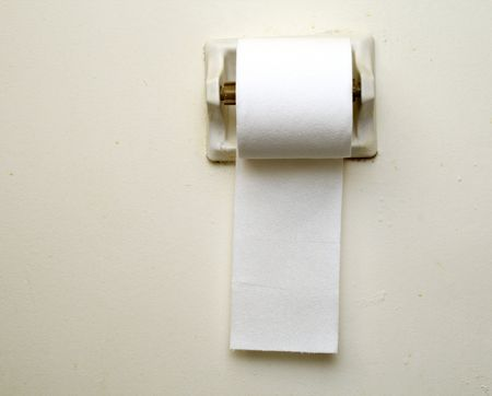 toilet paper hanging against a light gray wall