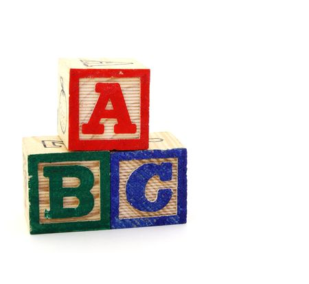 toy blocks with letters on a white background Stock Photo