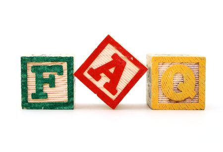 alphabet blocks over a white surface forming the word faq Stock Photo - 2735624