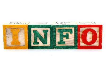 wood blocks: letter wood blocks forming the word info in the horizontal Stock Photo