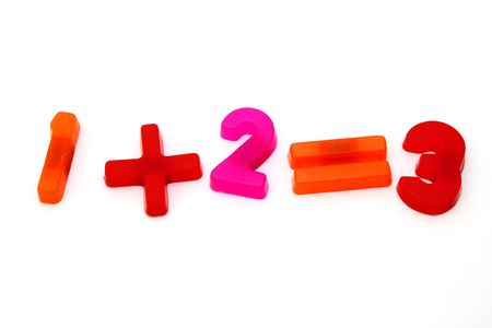 magnet numbers forming a simple sum over a white surface