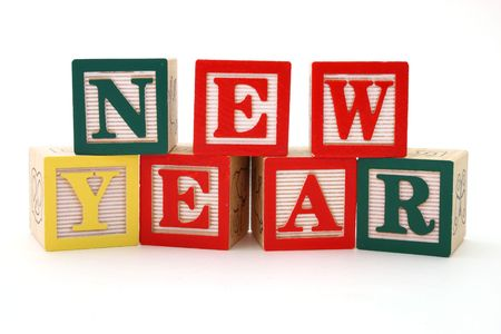word new year formed by wood alphabet blocks Stock Photo - 2797543