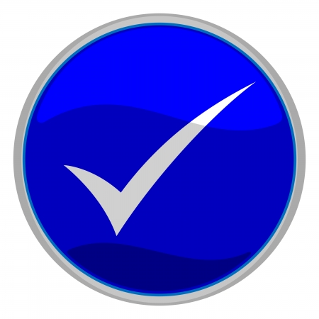vector illustratie van een blauw vinkje knop