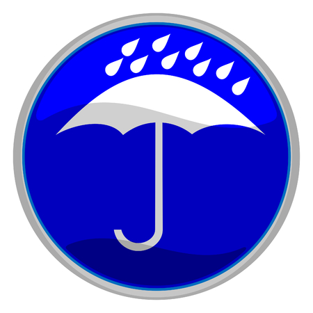 buttom: vector illustration of a glossy blue icon of an umbrella under water drops