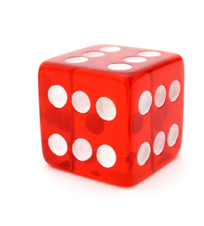 tricky: red tricky die with all sides giving six over a white surface