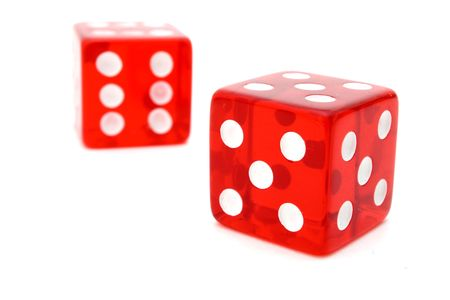 tricky: two red tricky dice over a white surface