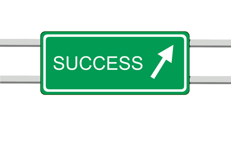 informative: vector illustration of green informative road sign with the word success