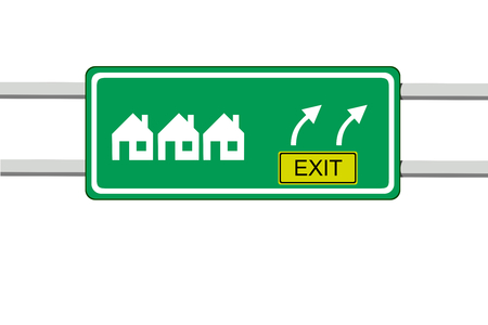 vector illustration of green informative road sign of several houses