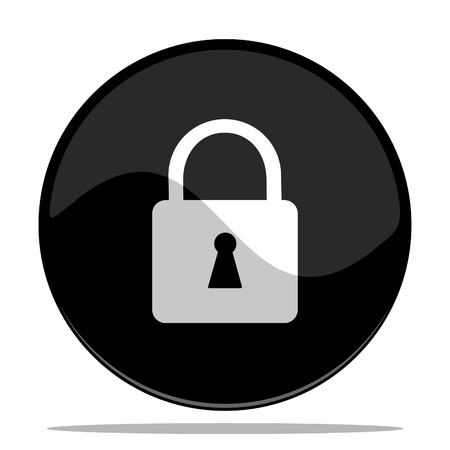 vector illustration of an icon of a padlock with shadow