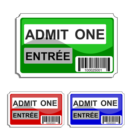 bilingual: vector illustration of a bilingual glossy  admit one ticket with bar code