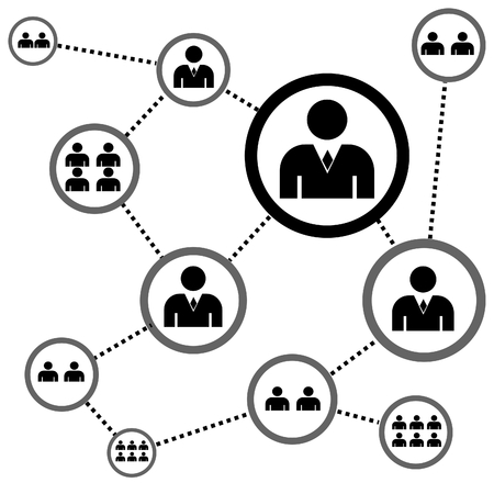 vector illustration of a complex network of people