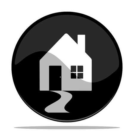 residences: vector illustration of a glossy button icon of a house