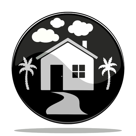 vector illustration of a glossy button icon of a house Vector Illustration