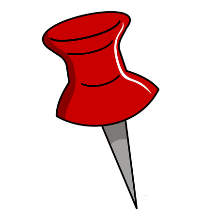 vector illustration of a red thumbtack on white
