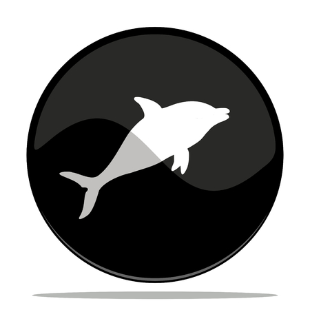 vector illustration of a glossy button with a  dolphin Vector