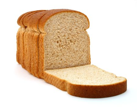 fresh slice of bread: several slices of whole grain bread over a white surface
