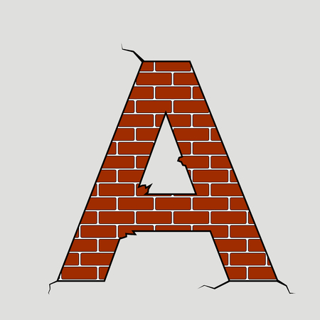 cracked wall: vector illustration of a the letter a formed on a brick wall Illustration