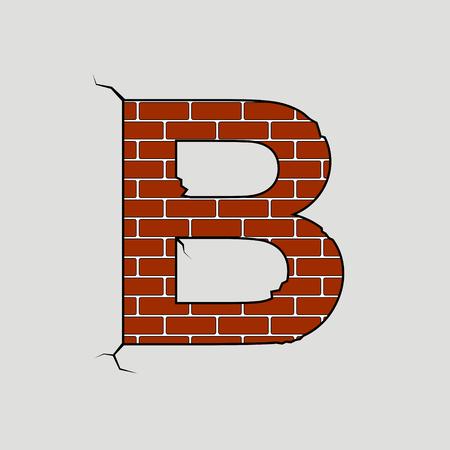 illustrazione vettoriale della lettera b formata su un muro di mattoni