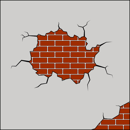 cracked wall: vector illustration of a broken brick wall