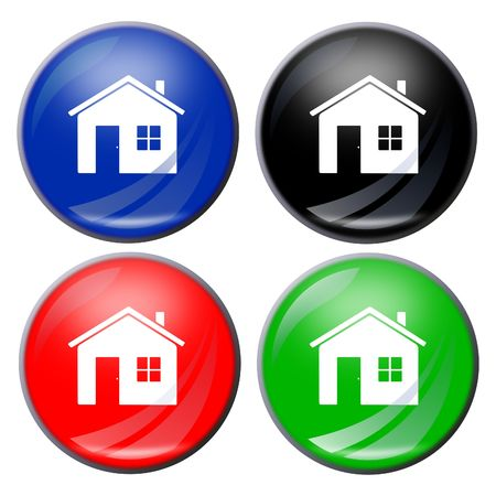 illustration of a house button in four colors