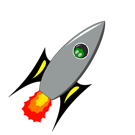 vector illustration of a green alien on a rocket Vector