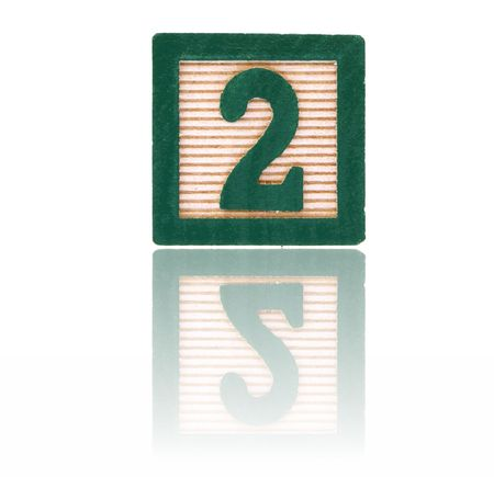 reflect: number two in an alphabet wood block on a reflective surface