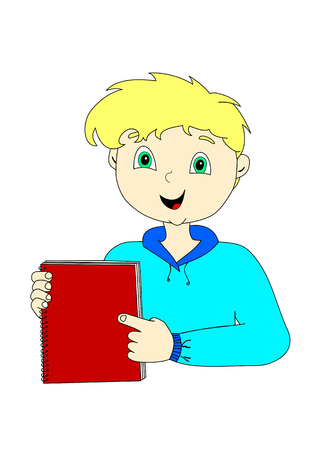 man holding book: vector illustration of a cartoon boy holding a red book Illustration