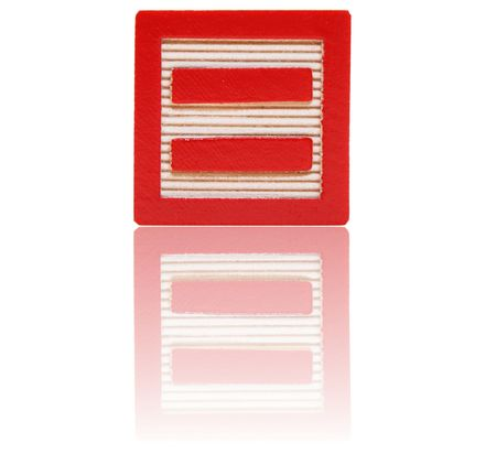 equal sign in an alphabet wood block on a reflective surface Stock Photo - 6543974