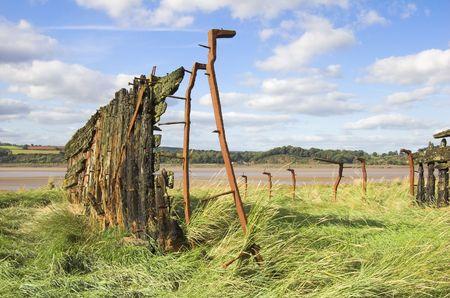 severn: Ship Wreck, Ship Graveyard, River Severn, Gloucestershire, England, October. Stock Photo