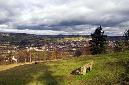 talus: Vista de Stroud, Gloucestershire, de Rodborough Hill.