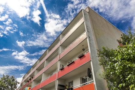Building made with precast concrete slabs Stock Photo