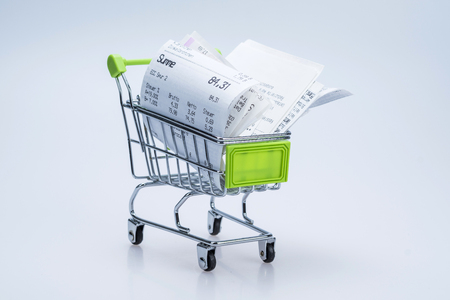Shopping cart with receipt
