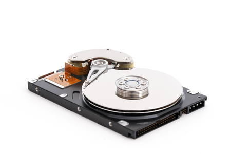 hard disk: Closeup of inside of a harddrive Stock Photo
