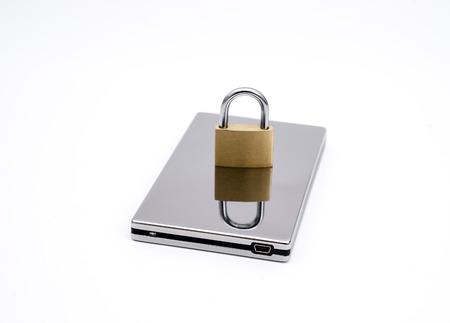usb memory: USB harddirve with padlock on white background