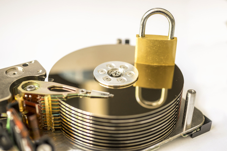 Closeup of inside of a harddrive Stock Photo