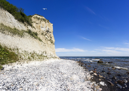 The long and steep coast of Cape Arkona on Ruegen, Germany