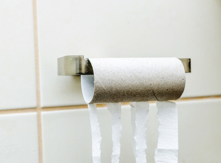Empty toilet paper roll without paper Stock Photo
