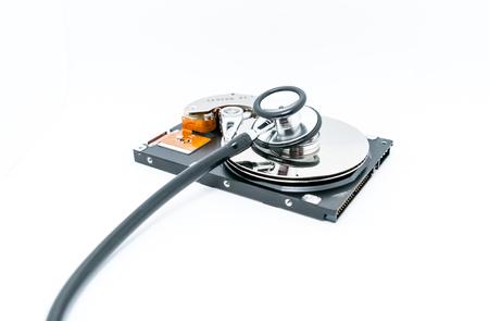 Harddisk and stethoscope