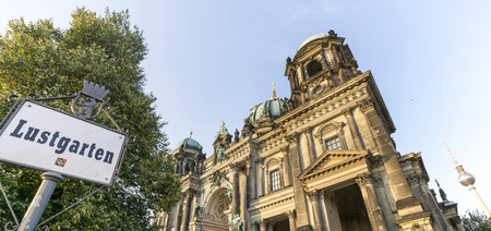 or spree: German cathedral in Berlin, Germany