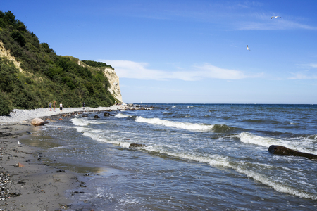 The long and steep coast of Cape Arkona on Ruegen in Germany