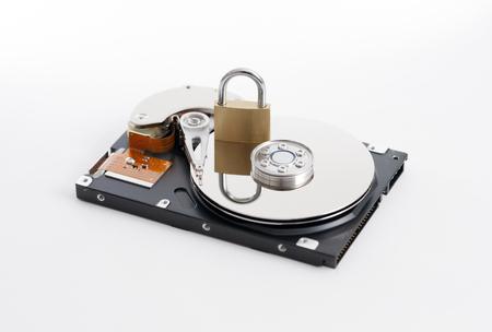 disco duro: Closeup of inside of a harddrive Foto de archivo