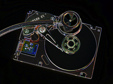 Harddisk and stethoscope - concept for repair and restore a harddrive Stock Photo