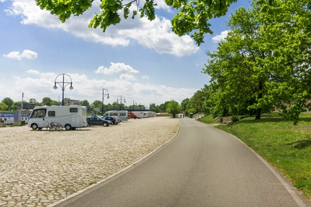 urban idyll: Camping place in Magdeburg, Germany