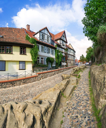 Quedlinburg in Germany with historic inner city Stock Photo