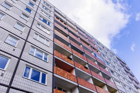 Building made with precast concrete slabs.