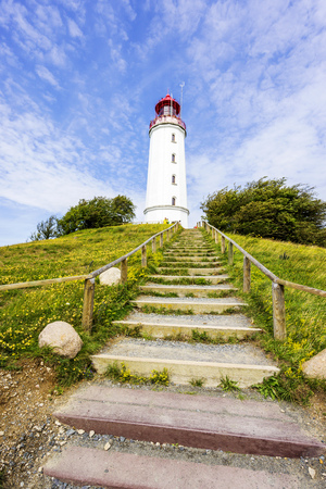 Island Hiddensee with lighthouse Dornbusch in Germany
