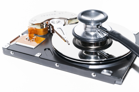 hard disk: Harddisk and stethoscope