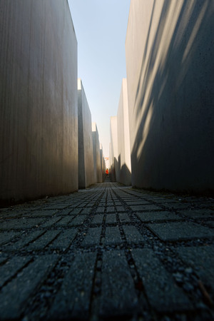 murdered: 25th of June 2017, Berlin, Germany: At the Memorial to the Murdered Jews of Europe. Tourists are visiting the site.