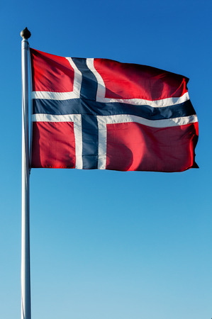 norwegian flag: Norwegian flag waving in the wind.