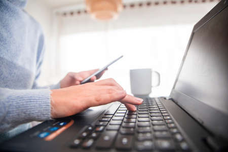businesswoman telecommuting at home with her computer, mobile and agenda at home.